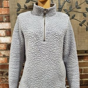 ABERCROMBIE Grey Pullover w/Front Pockets & Zipper